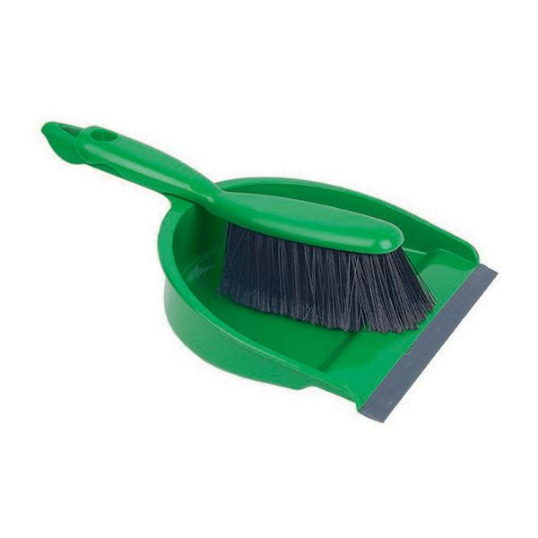 Plastic-Dustpan---Brush-Set---Green