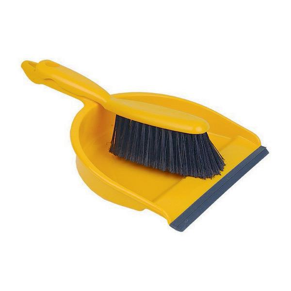 Plastic-Dustpan---Brush-Set---Yellow