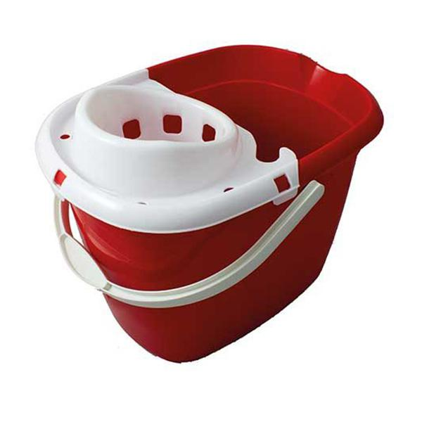 Plastic-Mop-Bucket-with-Wringer---Red