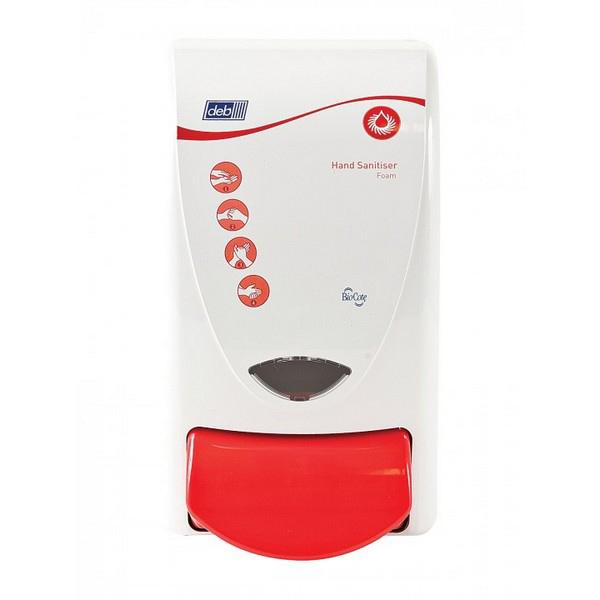 Deb-Sanitise-1L-Red-Push-Button-Dispenser